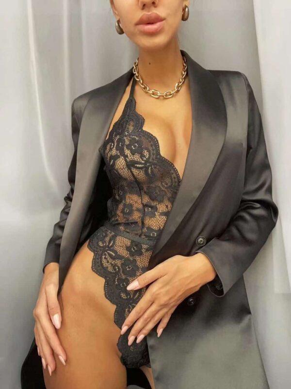 בגד גוף תחרה שחור